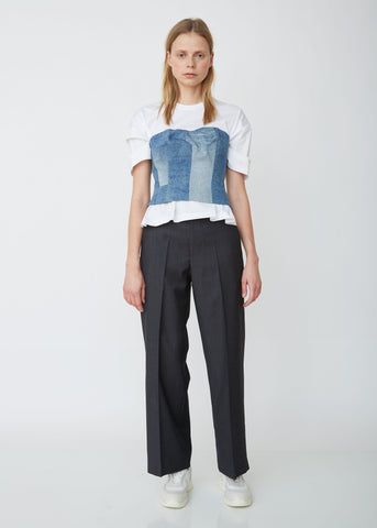 Wool Chambray Stripe Trousers