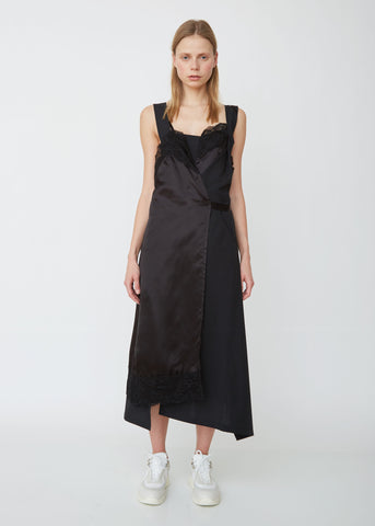 Sleeveless Satin and Wool Belted Dress