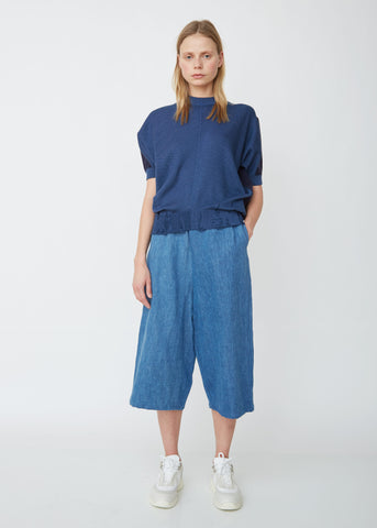 Cotton Linen Denim Wide Leg Pants