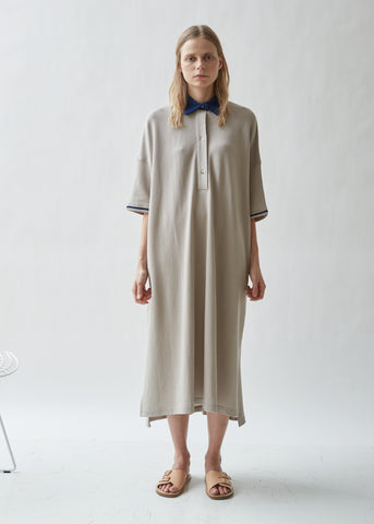 Oversized Waffle Cotton Polo Dress