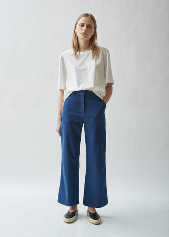 Washed Denim Wide Leg Jean