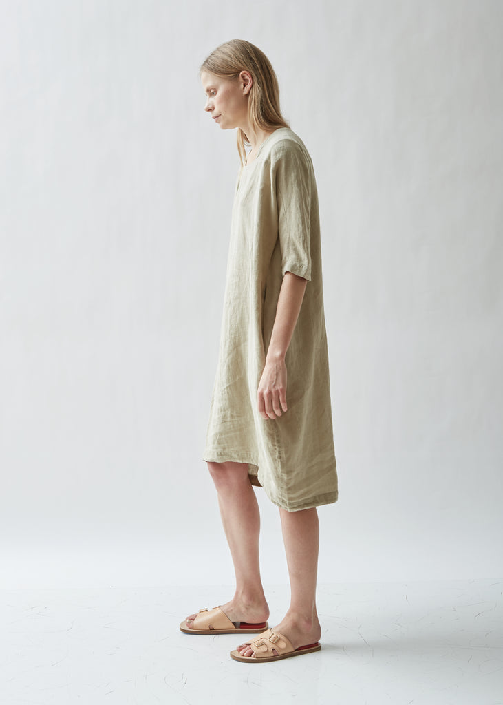 Scallion Short Sleeve Linen Dress