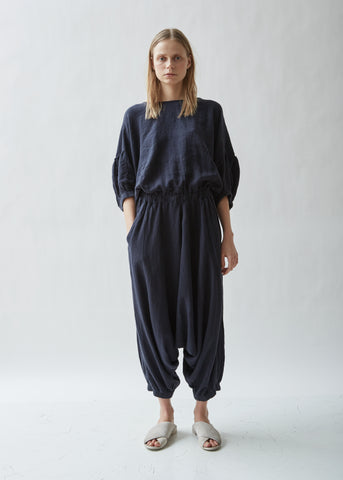 Xiao Gathered Linen Melange Jumpsuit