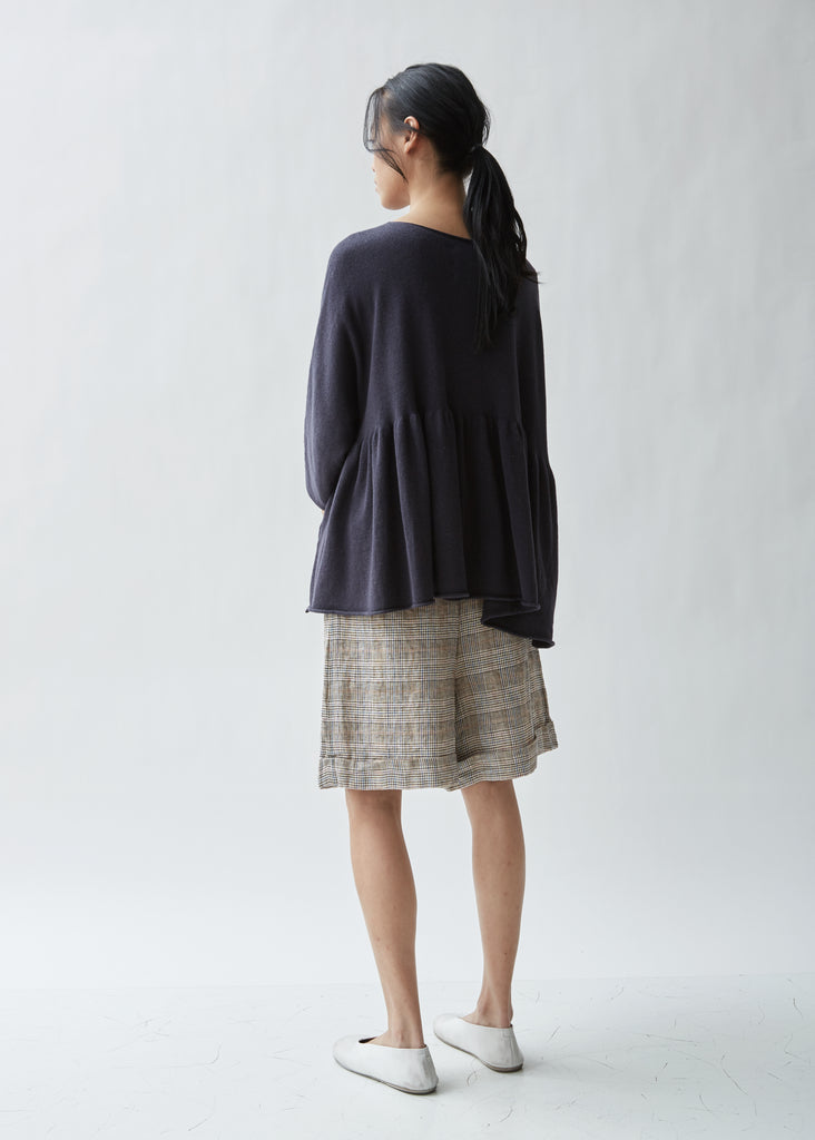 Tier Pima Cotton and Linen Pullover