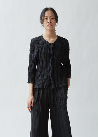 Splash Pleats Solid Cardigan