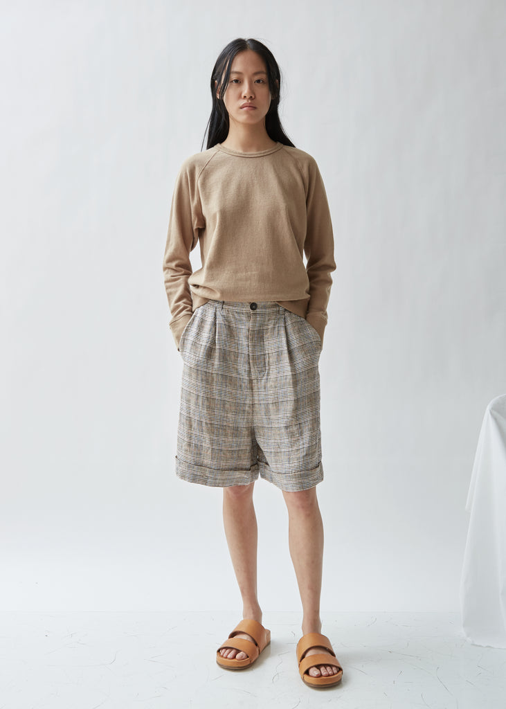 Pleated Front Linen Shorts