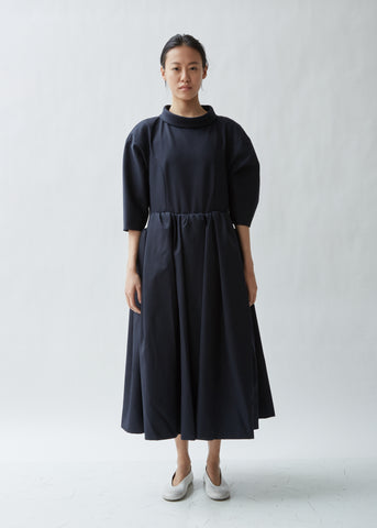 Voluminous A-Line Gabardine Dress