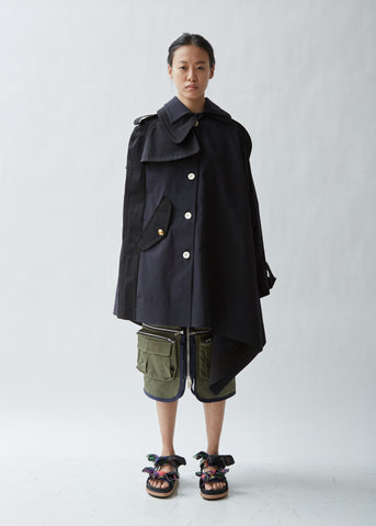 Mixed Poplin Cape Jacket