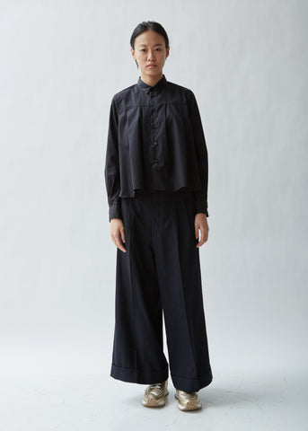 Wool Gabardine Wide Leg Pants