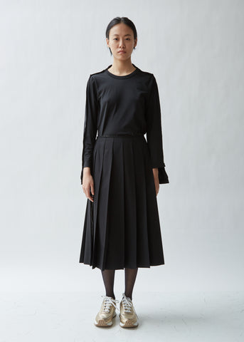 Pleated Split Seam Gabardine Skirt
