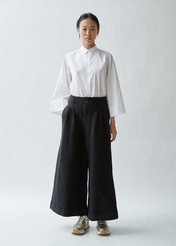 Twill Serge Garment Treated Wide Leg Pants