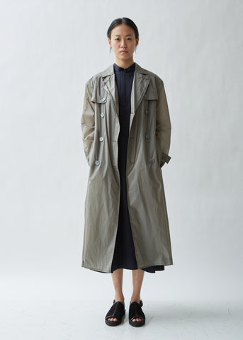 Lightweight Pleated Double Breasted Coat