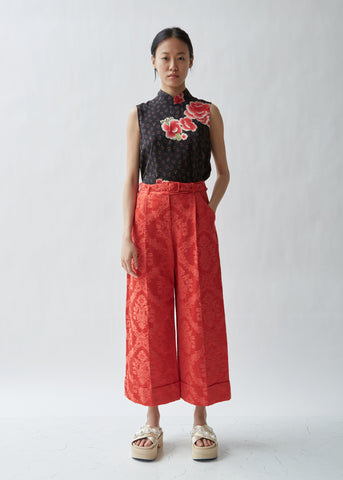 Wide Tailored Trouser W/ Marabou Trim