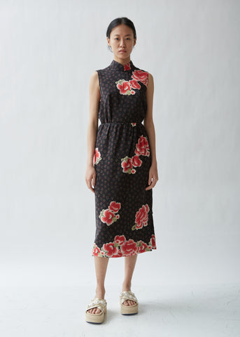 Silk Floral Wrap Pencil Skirt