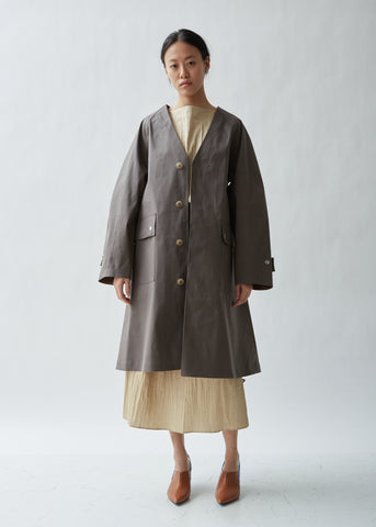 Belted Collarless Trench Coat