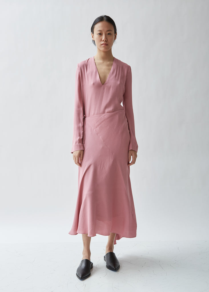 Crepe Long Sleeve Wrap Dress