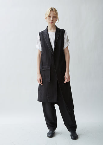Linen Blend Asymmetrical Tailored Sleeveless Jacket