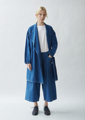 Denim Asymmetrical Box Pocket Coat