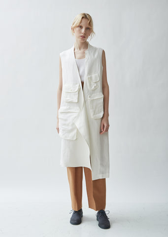 Linen Blend Stand Collar Sleeveless Jacket