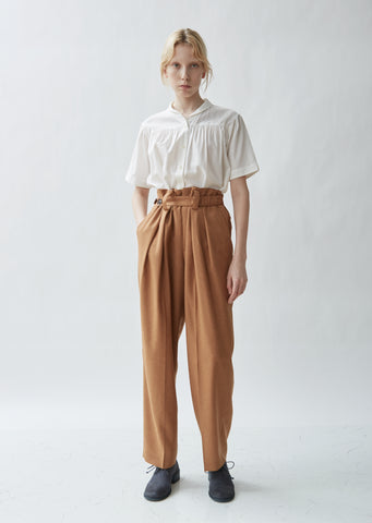Belted Tailored Twill High Waist Trousers