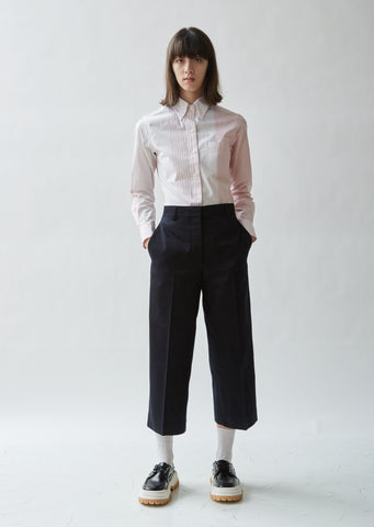 Straight Leg Cotton Twill Trousers