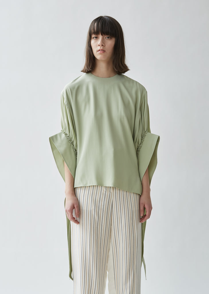 Exaggerated Ruched Sleeve Top