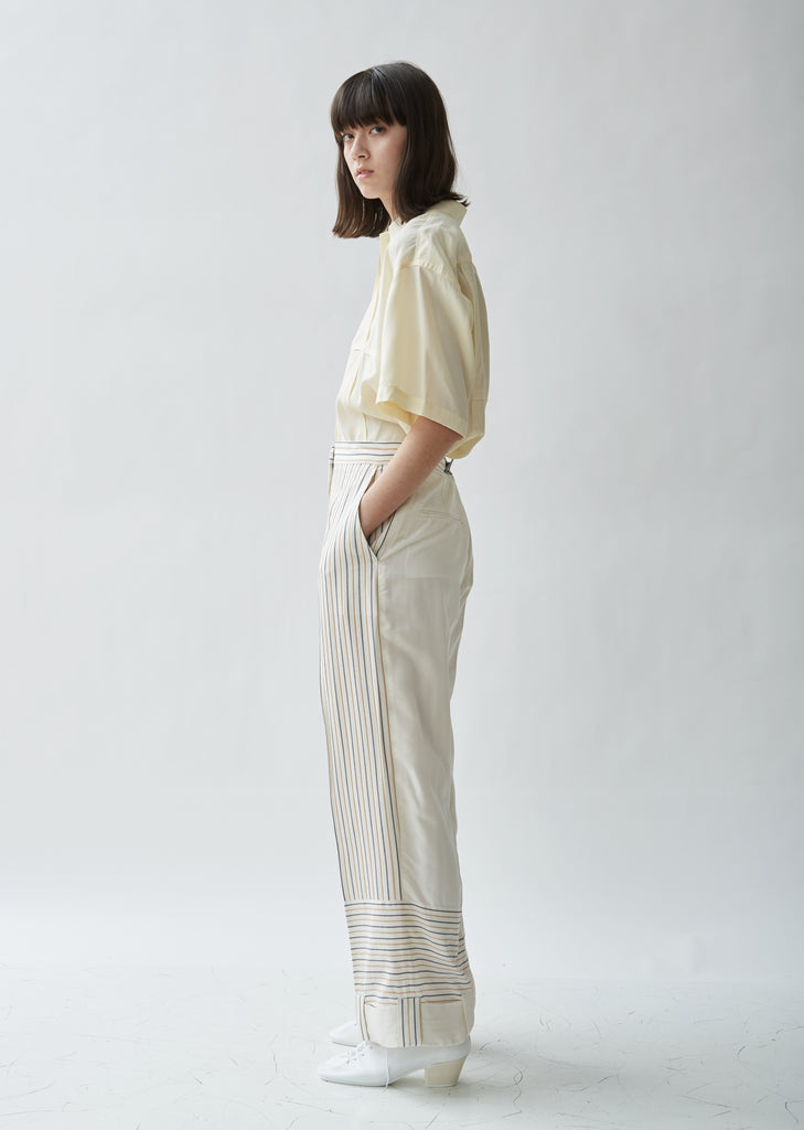 Stripe Contrast Panelled Trousers