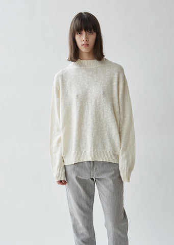 Cable Trim Cotton & Wool Sweater
