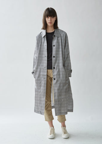 Plaid Raglan Trench Coat