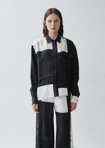 Contrast Panel Button Front Shirt