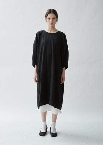 Herringbone Garment Treated Smock Dress