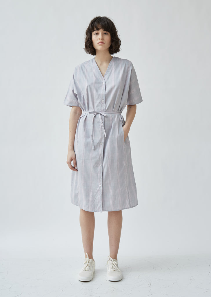 Cotton Poplin Plaid V-Neck Shirtdress