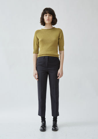 Mid Waist Crop Trousers