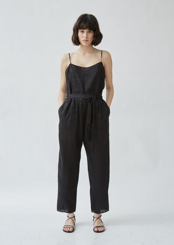 Linen Shantung Canvas Jumpsuit