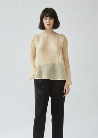 Gauzed Slubbed Silk Roundneck Shirt