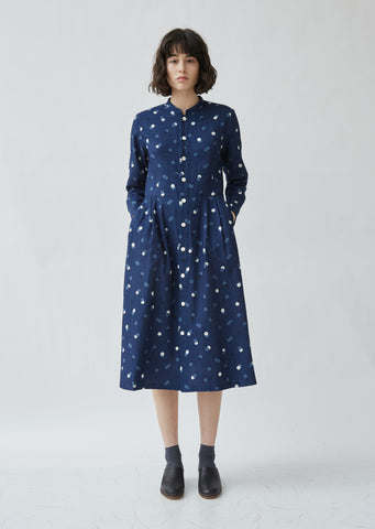 Indigo Twill Bouncing Dots Dress