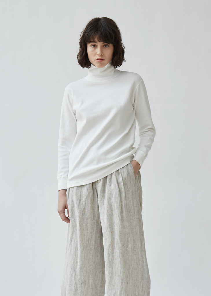 Slub Cotton Rib Turtleneck Tee