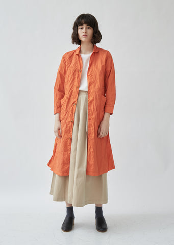 Plant Dyed Round Collar Long Coat