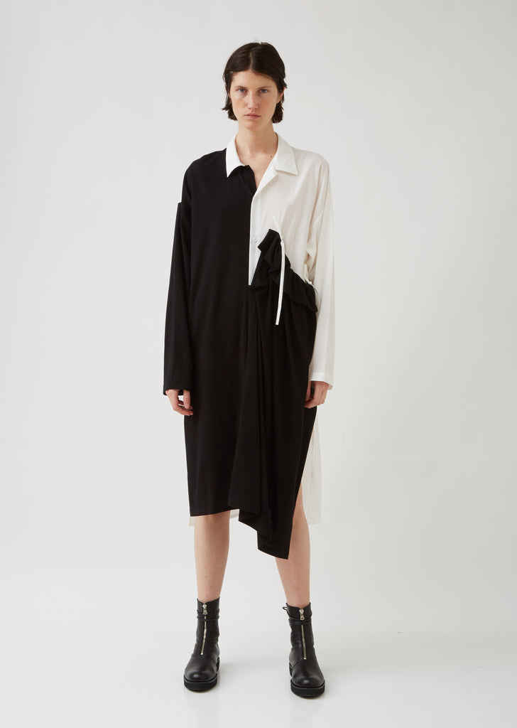 U-Left Gather Shirt Dress