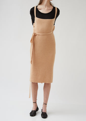 Wool Rib Maru Apron Dress
