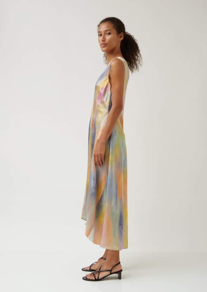 Miriam Printed Satin V Neck Midi Dress