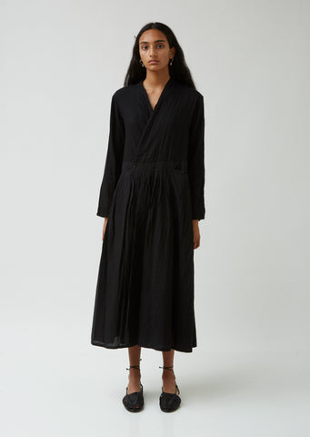Japanese Sake Dyed Pleated Front Wrap Dress