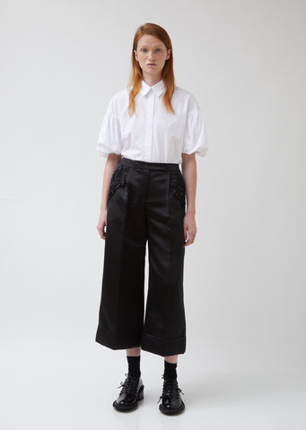 Wide Leg Tailored Trousers With Smocked Pocket