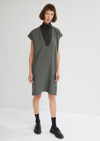 Shear Wool Rib Neck Tunic Dress
