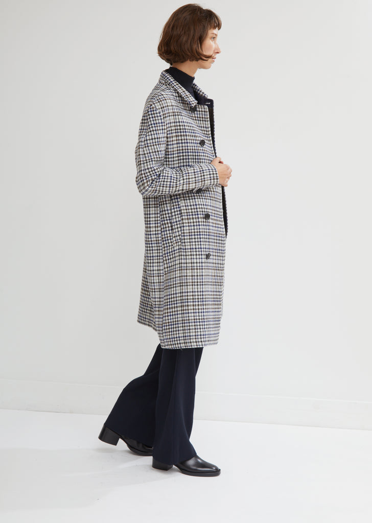 Afro Fur Lined Check Wool Coat