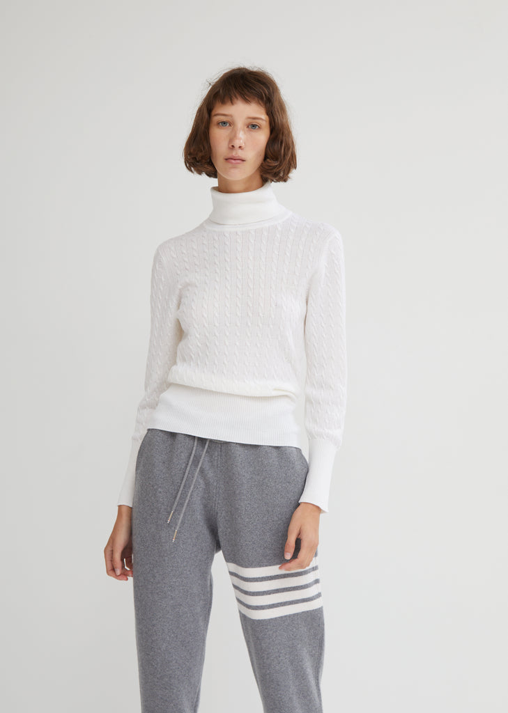 Fine Wool Baby Cable Turtleneck