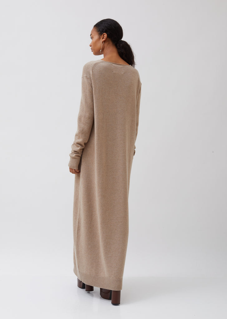 V-Neck Long Sweater Dress