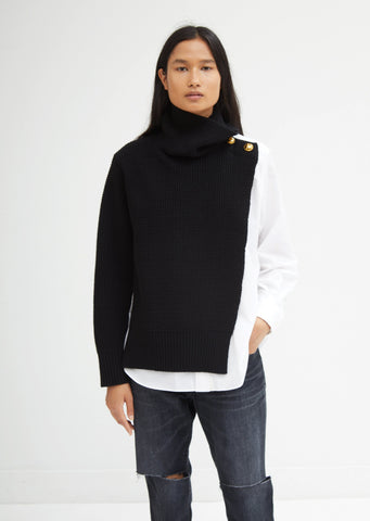 Sweater Shirt Mixed Turtleneck Top