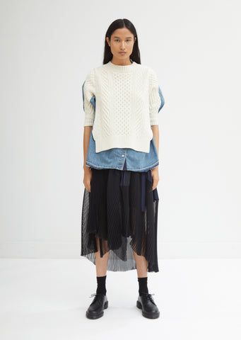 Denim Cable Knit Combo Top