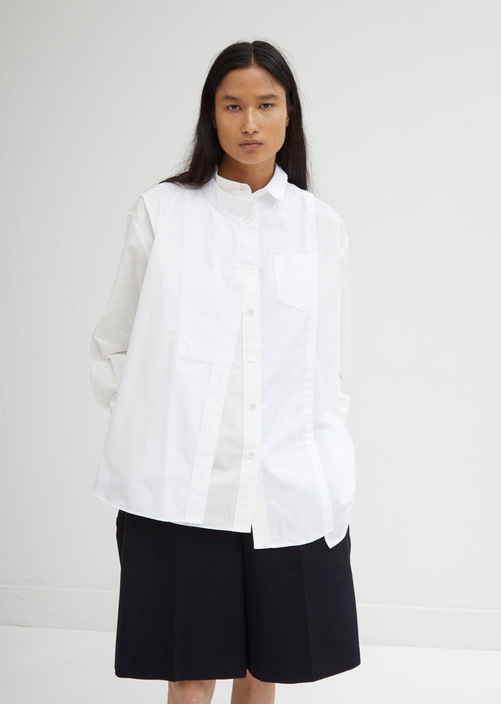 Layered White Poplin Shirt